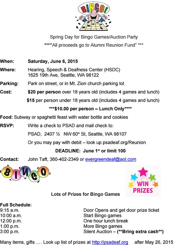 PSAD Bingo and Auction for Reunion Fund